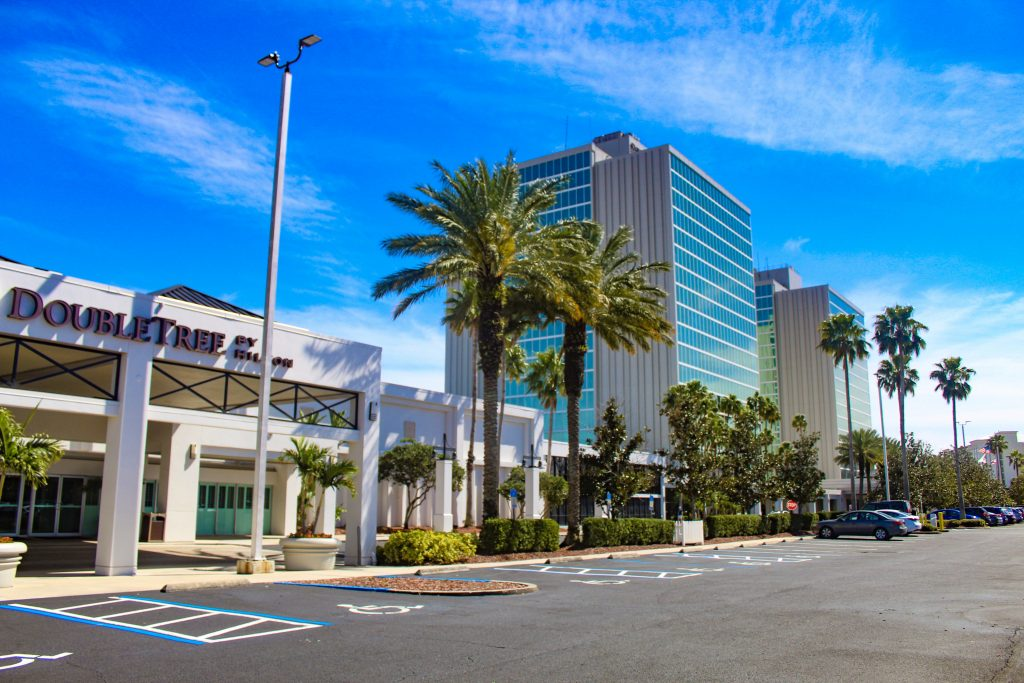 Universal Orlando Hotel- DoubleTree by Hilton at the Entrance to Universal Orlando graphic