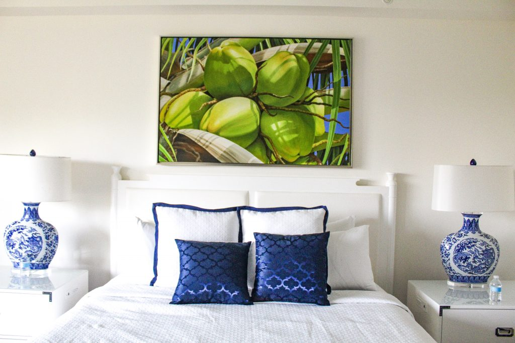 Blue and green tones in the guest rooms at Oceans Edge Resort and Marina Stock Island, Florida