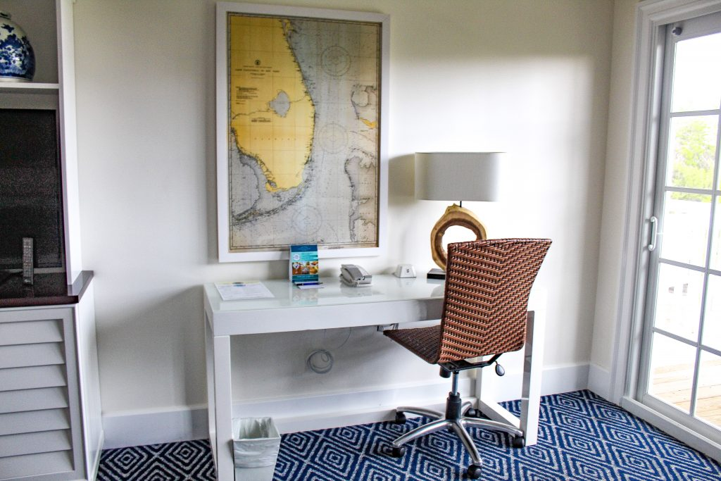Desk area in the guest room at Oceans Edge Resort and Marina Stock Island, Florida