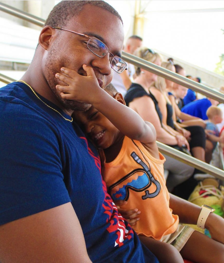 father and son at sea world orlando