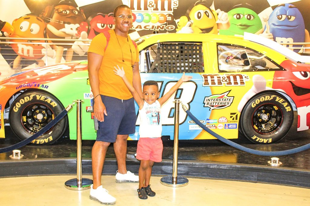 m and m world Las Vegas father and son picture things to do in Las Vegas with kids