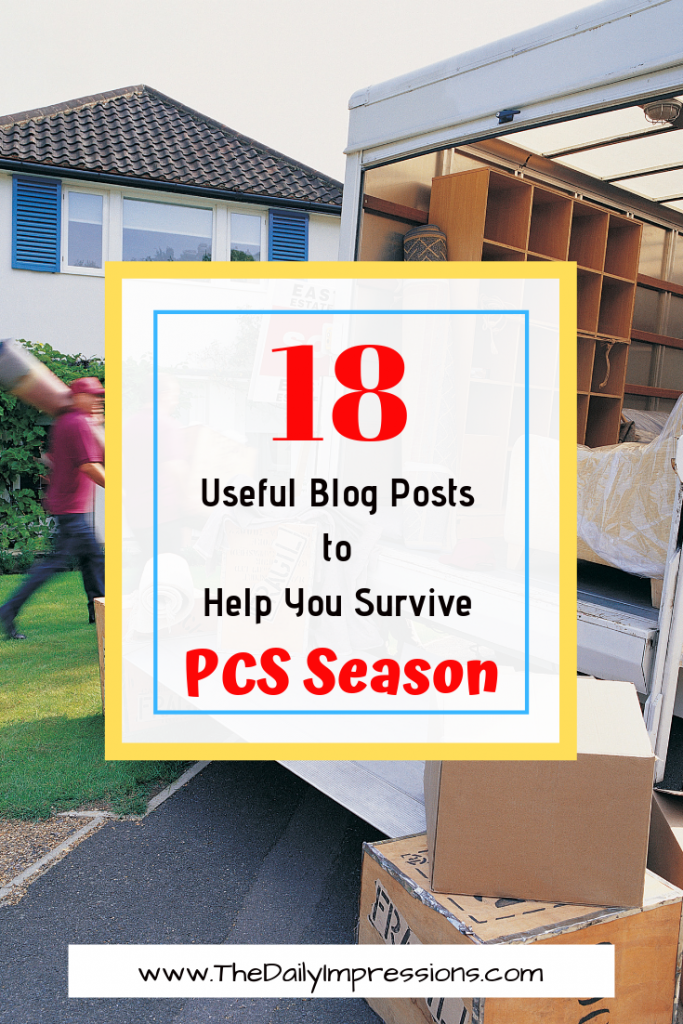 18 useful blog posts to help you survive pcs season (moving truck with boxes for pcs season or military moves)