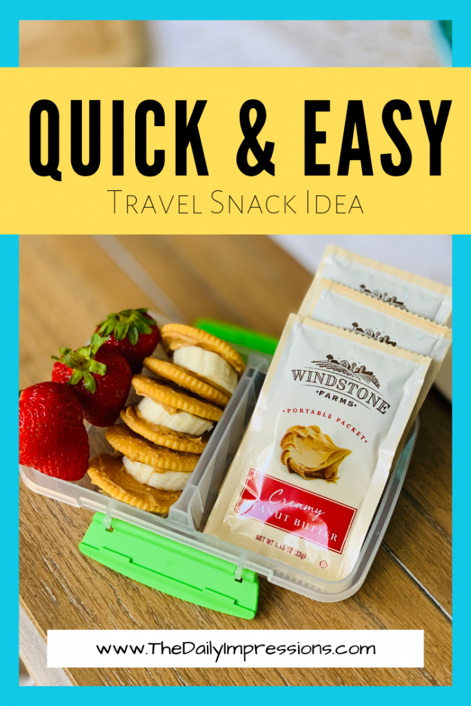 Travel snack idea: Windstone Farms Creamy Peanut Butter Portable Packet from Walmart. Read more about how this grab and go snack helps my family stay on track.