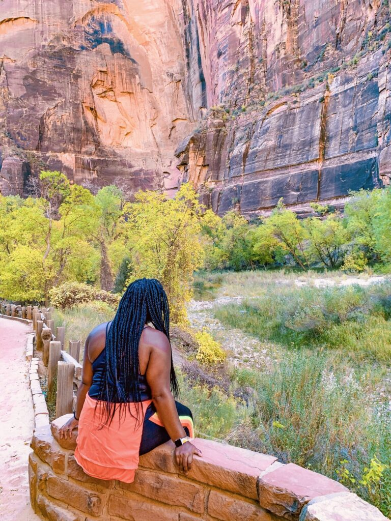 Zion national park narrows trail during the fall